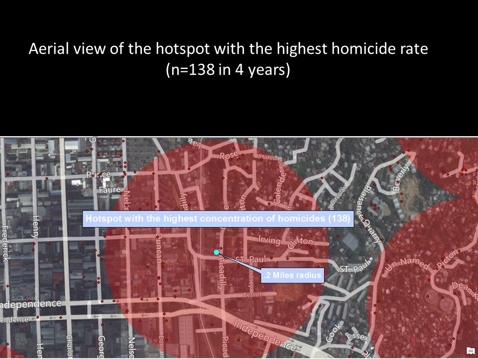 Aerial view of the hotspot with the highest homicide rate (n=138 in 4 years)
