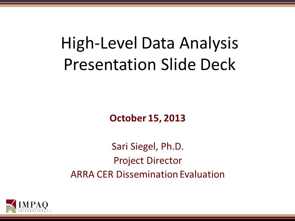 High-Level Data Analysis Presentation Slide Deck