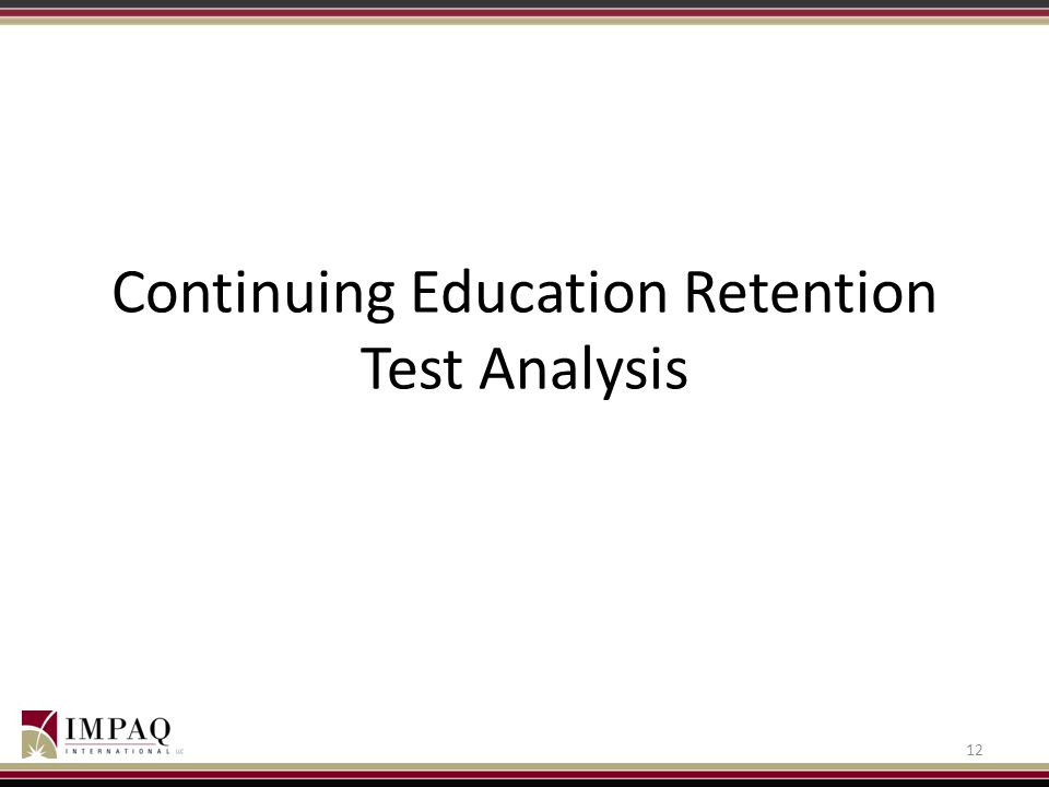 Continuing Education Retention Test Analysis