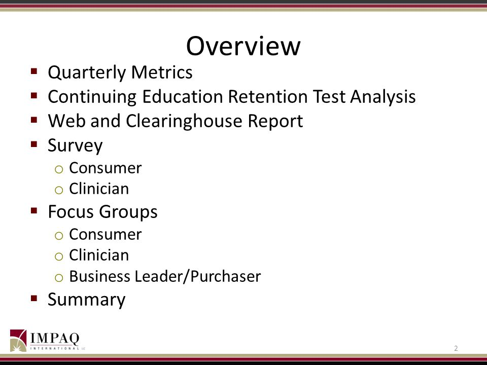 Overview Quarterly Metrics