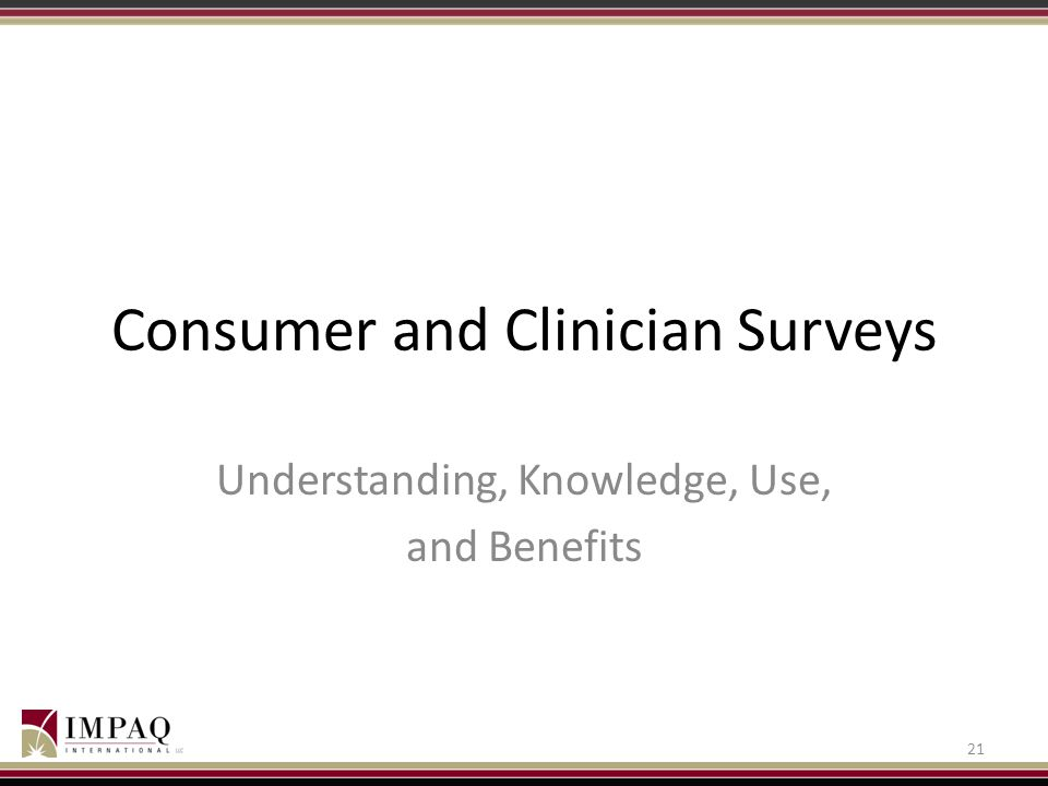Consumer and Clinician Surveys