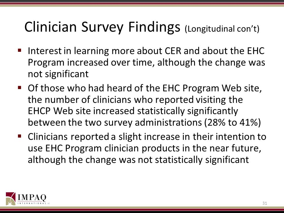 Clinician Survey Findings (Longitudinal con't)