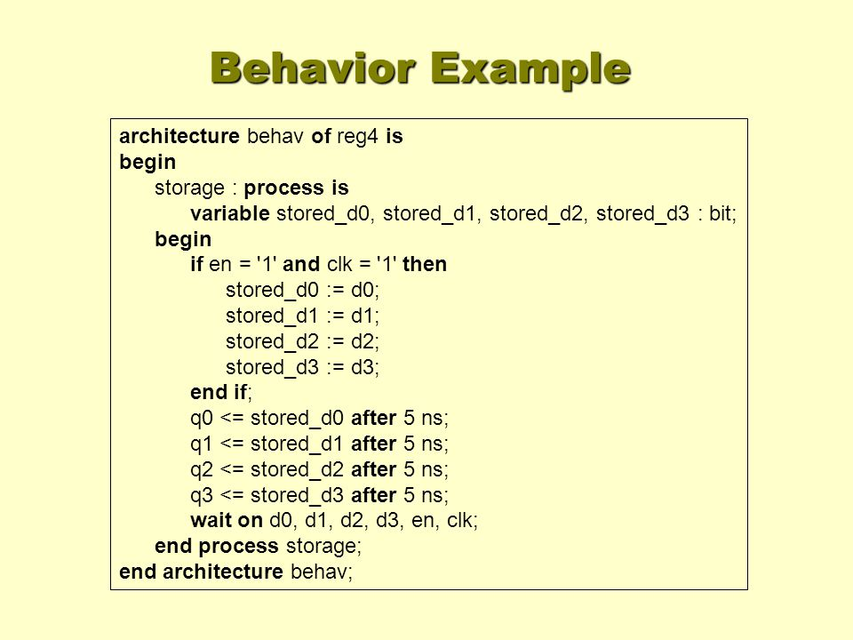 Behavior Example architecture behav of reg4 is begin