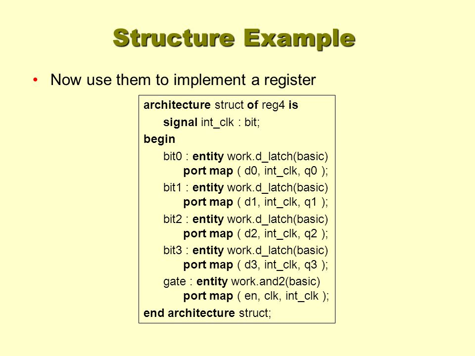 Structure Example Now use them to implement a register