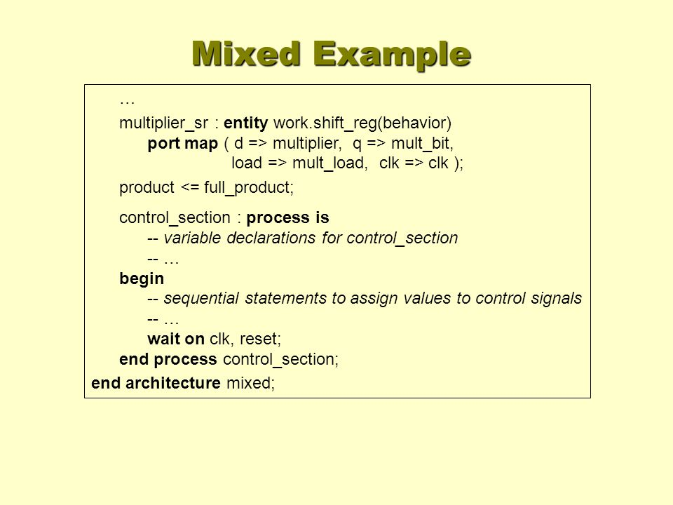 Mixed Example … multiplier_sr : entity work.shift_reg(behavior) port map ( d => multiplier, q => mult_bit, load => mult_load, clk => clk );