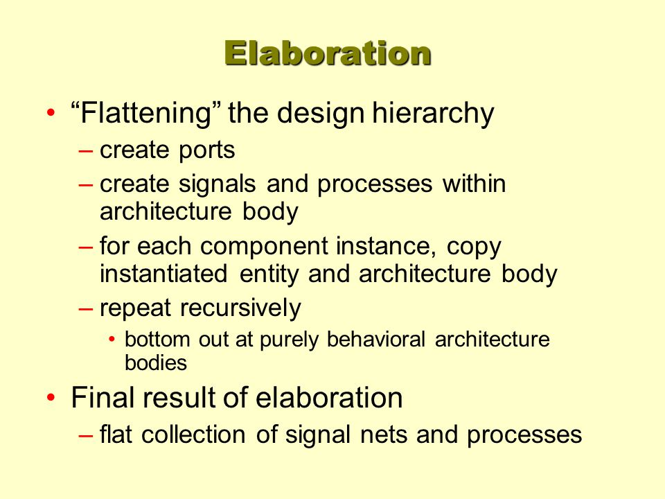 Elaboration Flattening the design hierarchy