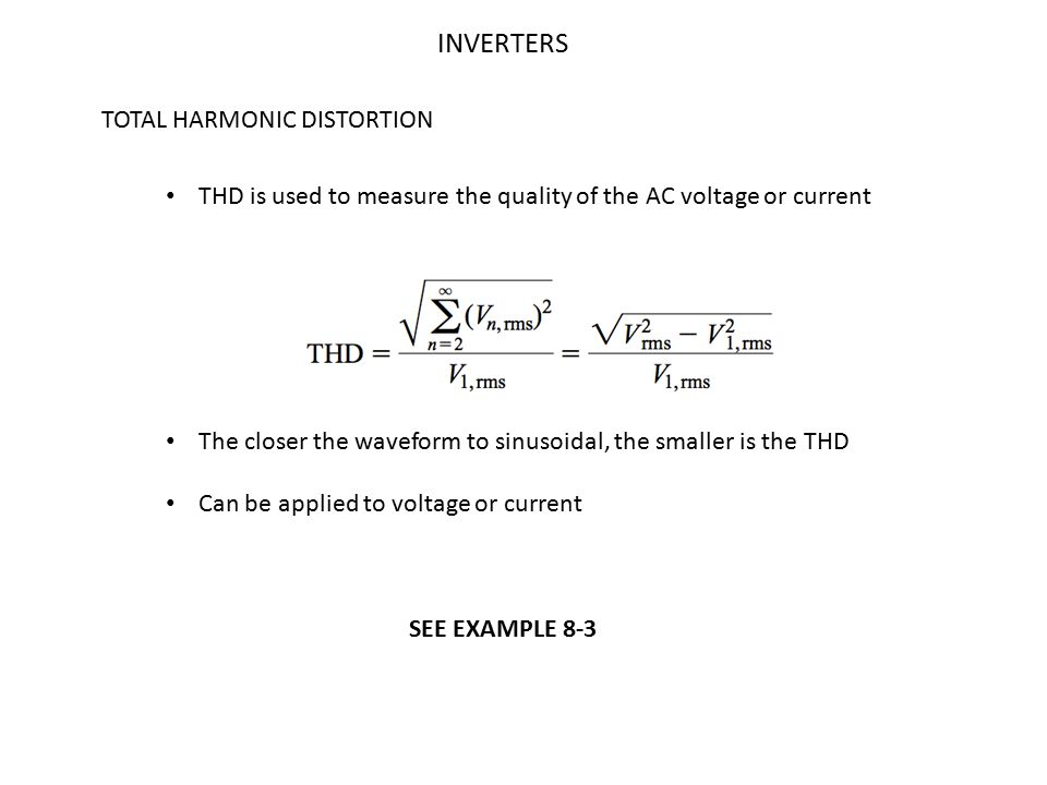 INVERTERS TOTAL HARMONIC DISTORTION
