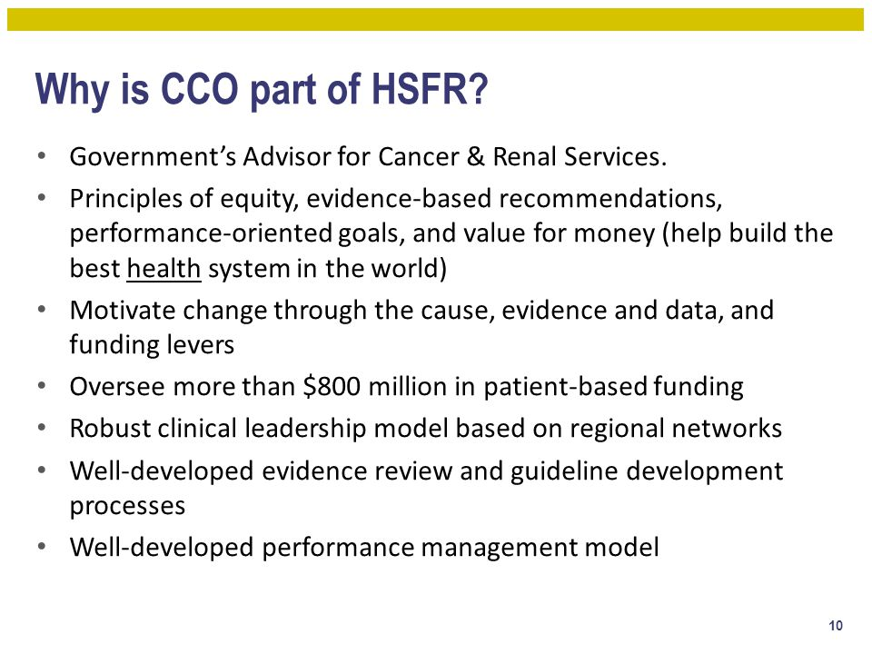 Why is CCO part of HSFR Government's Advisor for Cancer & Renal Services.