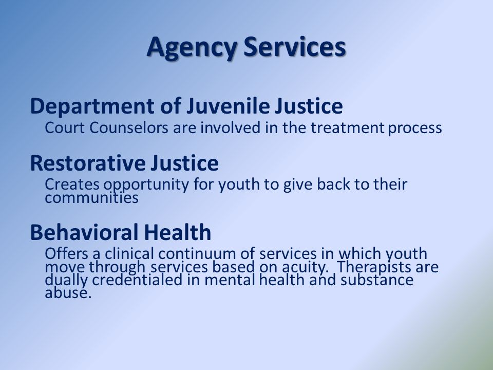 Agency Services Department of Juvenile Justice Restorative Justice
