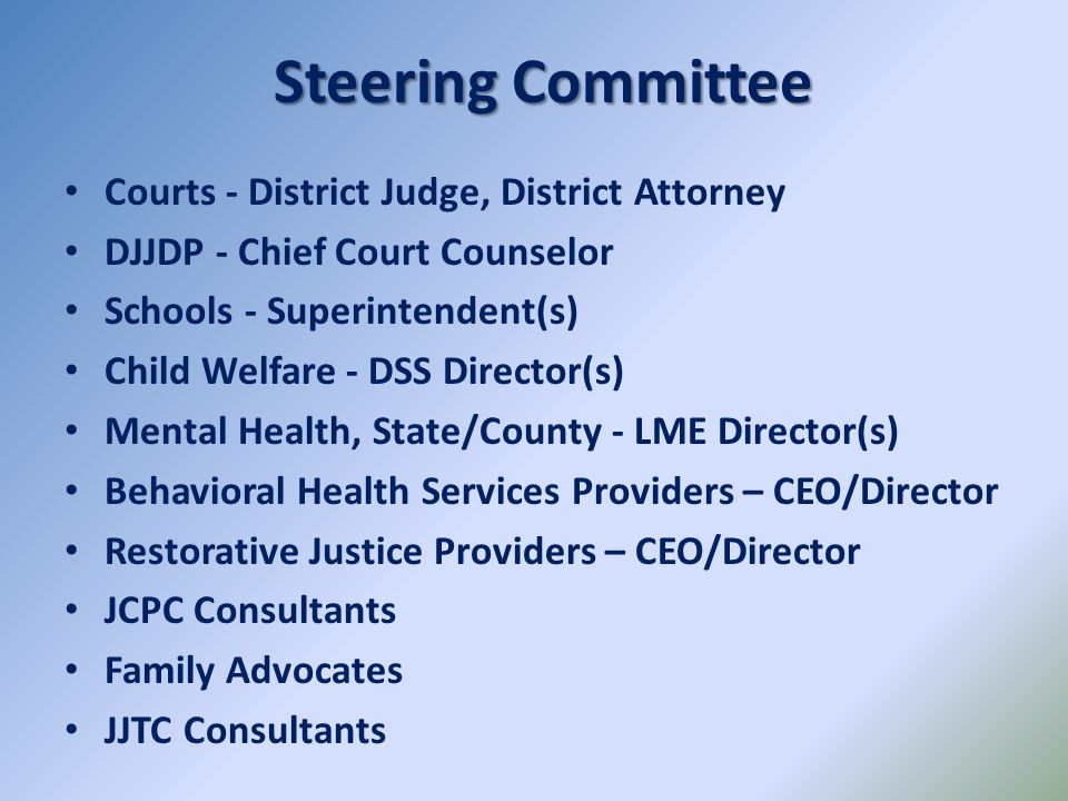 Steering Committee Courts - District Judge, District Attorney