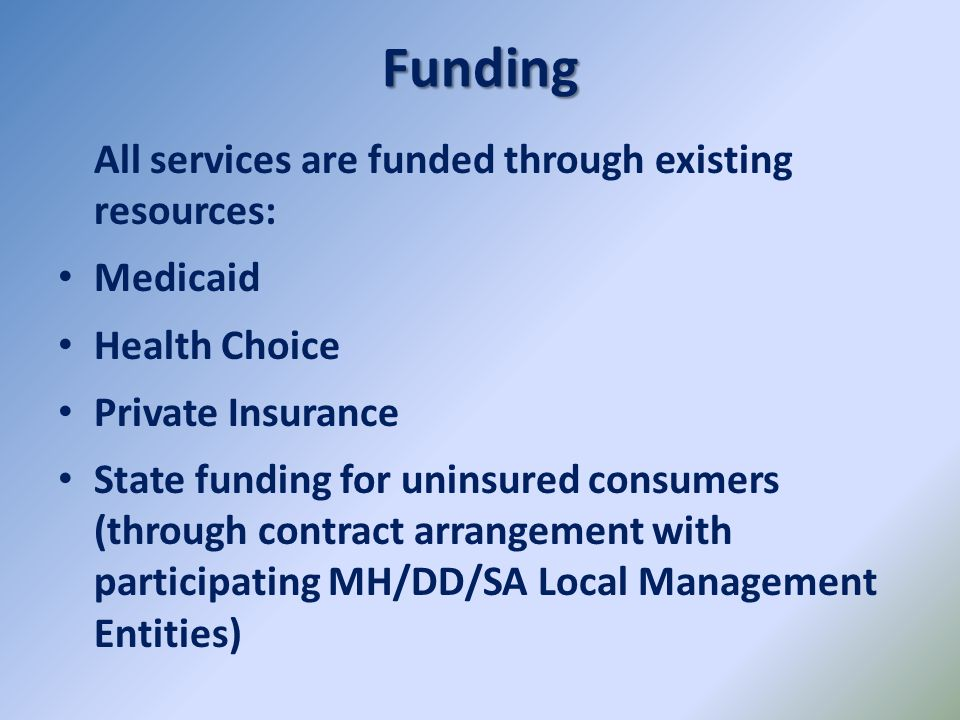 Funding All services are funded through existing resources: Medicaid