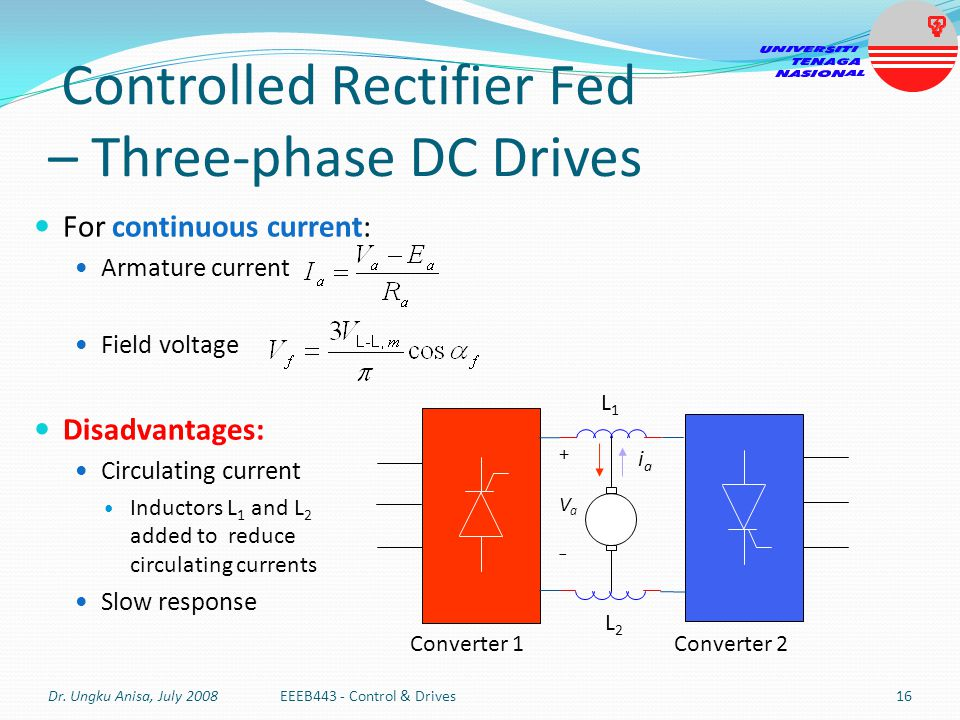 Controlled Rectifier Fed – Three-phase DC Drives