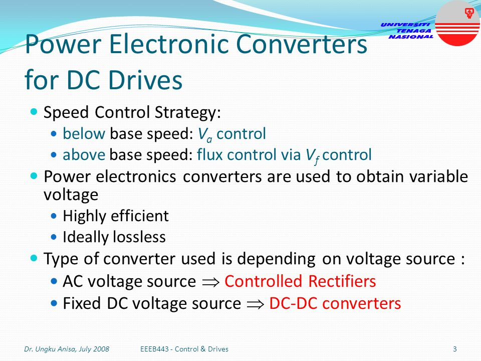 Power Electronic Converters for DC Drives