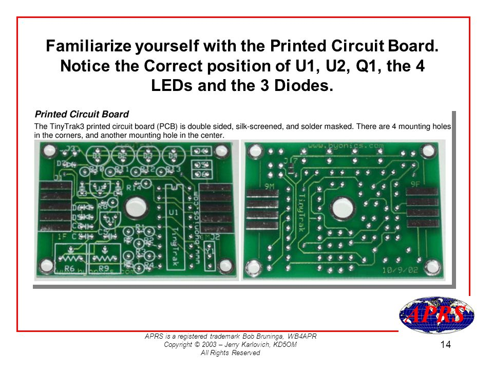 Familiarize yourself with the Printed Circuit Board