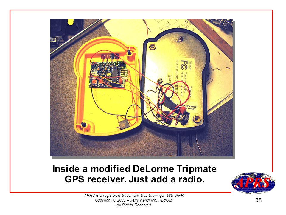 Inside a modified DeLorme Tripmate GPS receiver. Just add a radio.