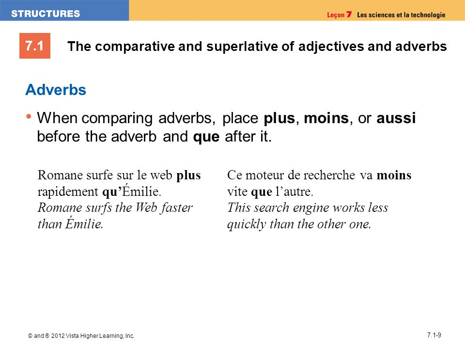 The comparative and superlative of adjectives and adverbs
