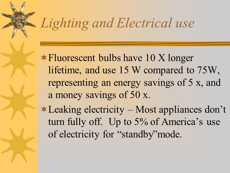 Lighting and Electrical use