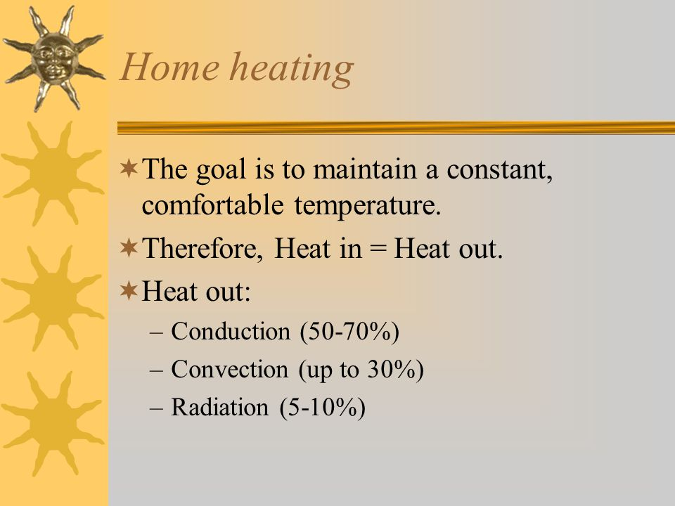 Home heating The goal is to maintain a constant, comfortable temperature. Therefore, Heat in = Heat out.