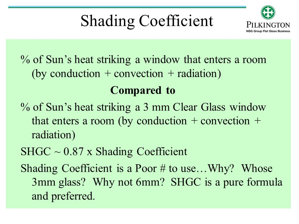 Shading Coefficient % of Sun's heat striking a window that enters a room (by conduction + convection + radiation)