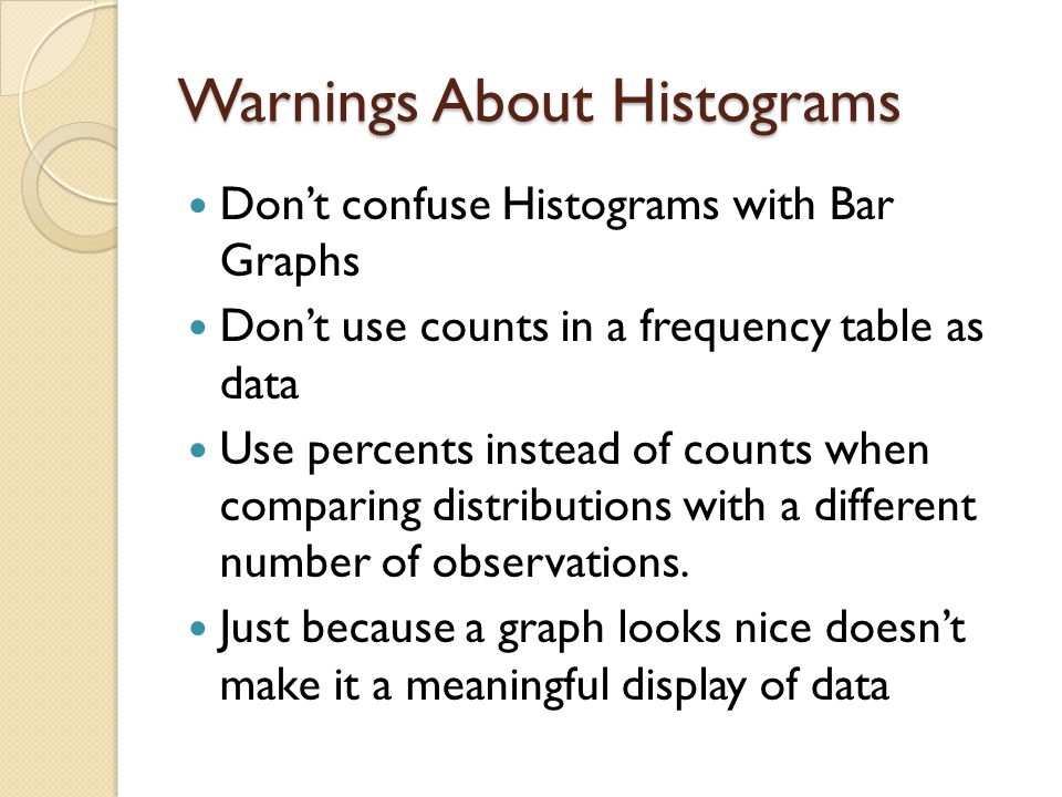 Warnings About Histograms