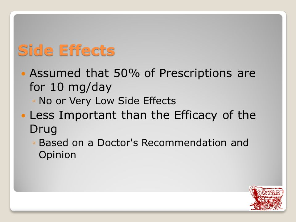 Side Effects Assumed that 50% of Prescriptions are for 10 mg/day