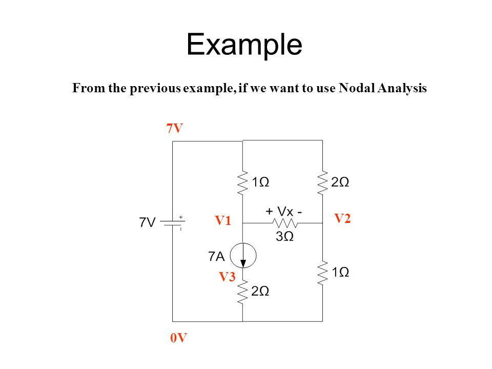 Example From the previous example, if we want to use Nodal Analysis 7V
