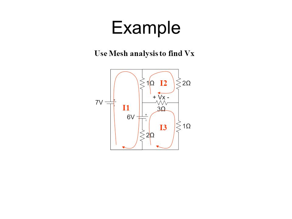 Example Use Mesh analysis to find Vx I1 I2 I3
