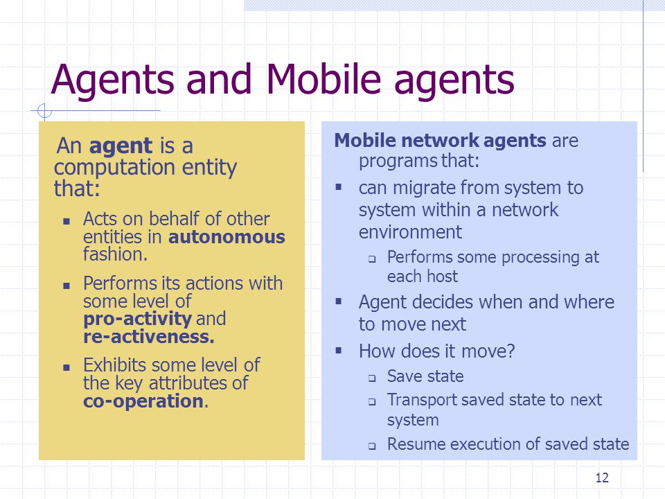 Agents and Mobile agents