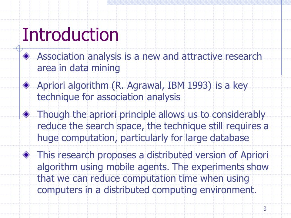 Introduction Association analysis is a new and attractive research area in data mining.