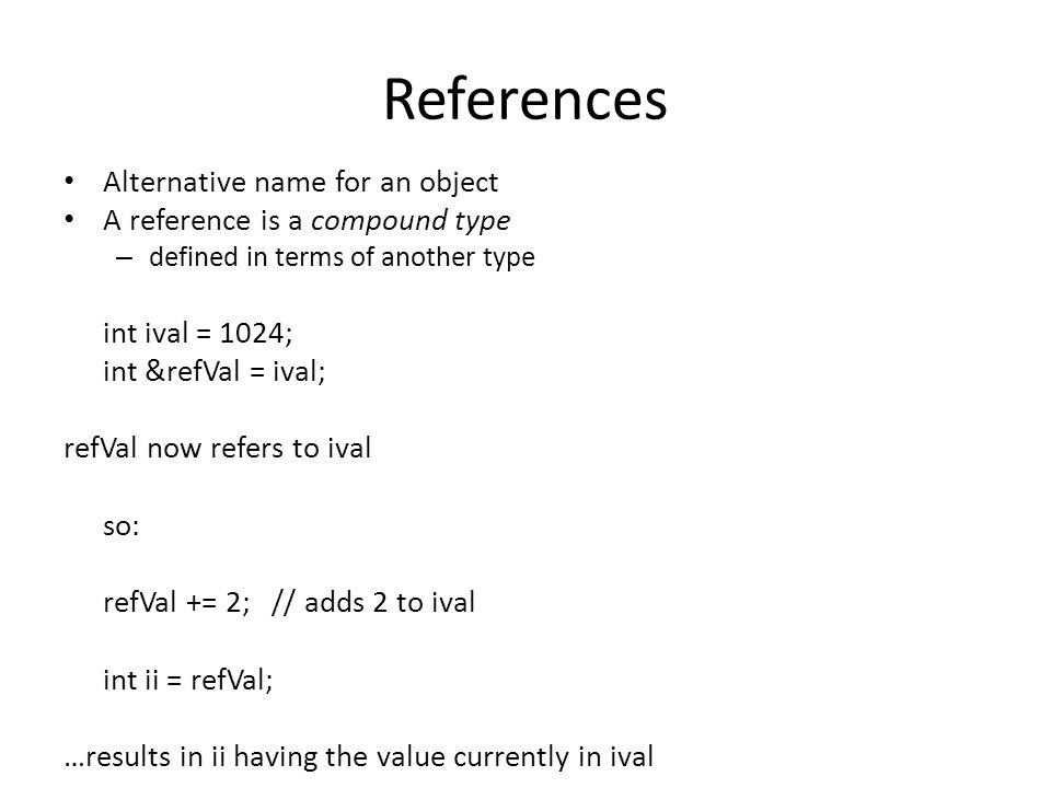 References Alternative name for an object