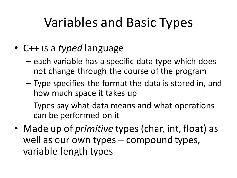 Variables and Basic Types