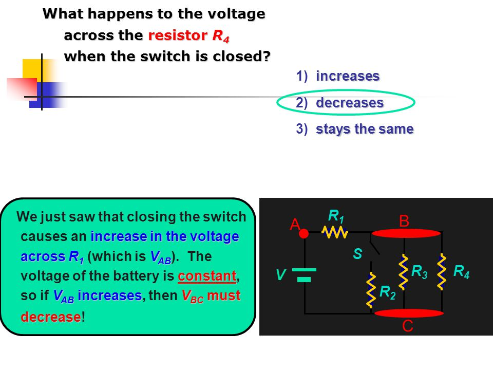 What happens to the voltage across the resistor R4 when the switch is closed