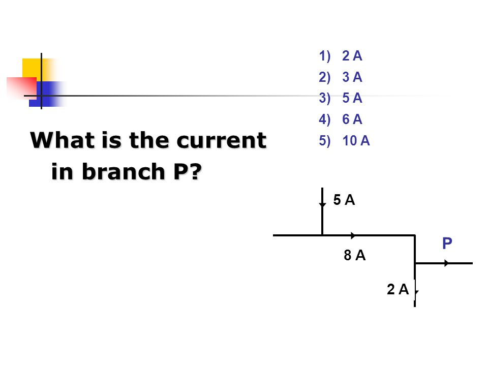 What is the current in branch P
