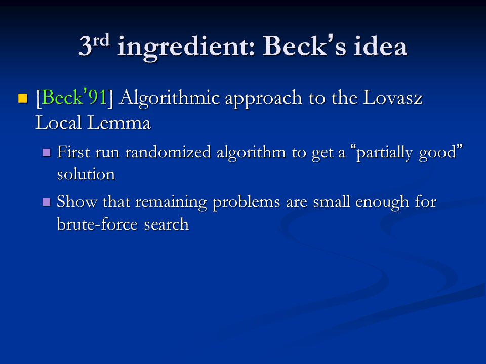 3rd ingredient: Beck's idea