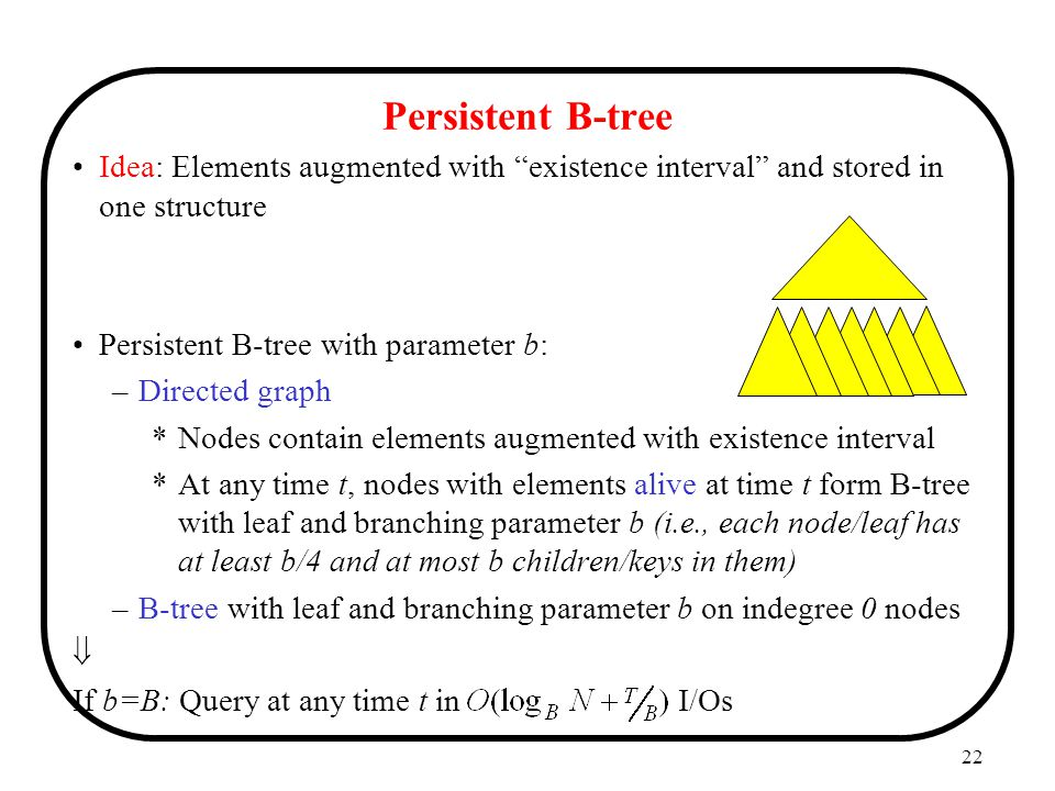 Persistent B-tree Idea: Elements augmented with existence interval and stored in one structure. Persistent B-tree with parameter b: