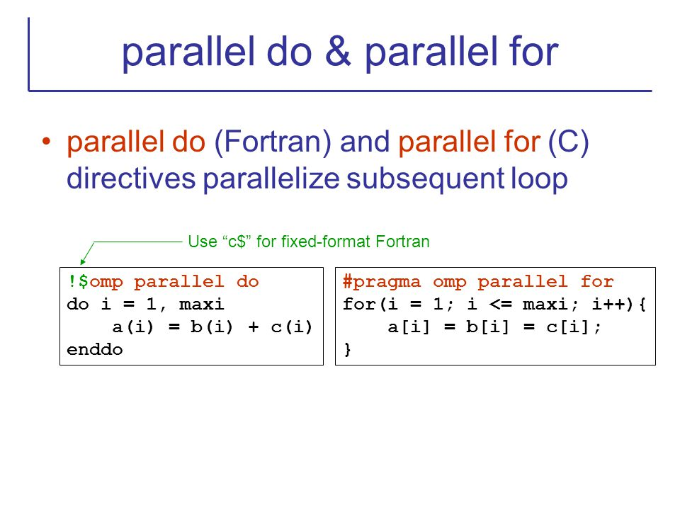 parallel do & parallel for