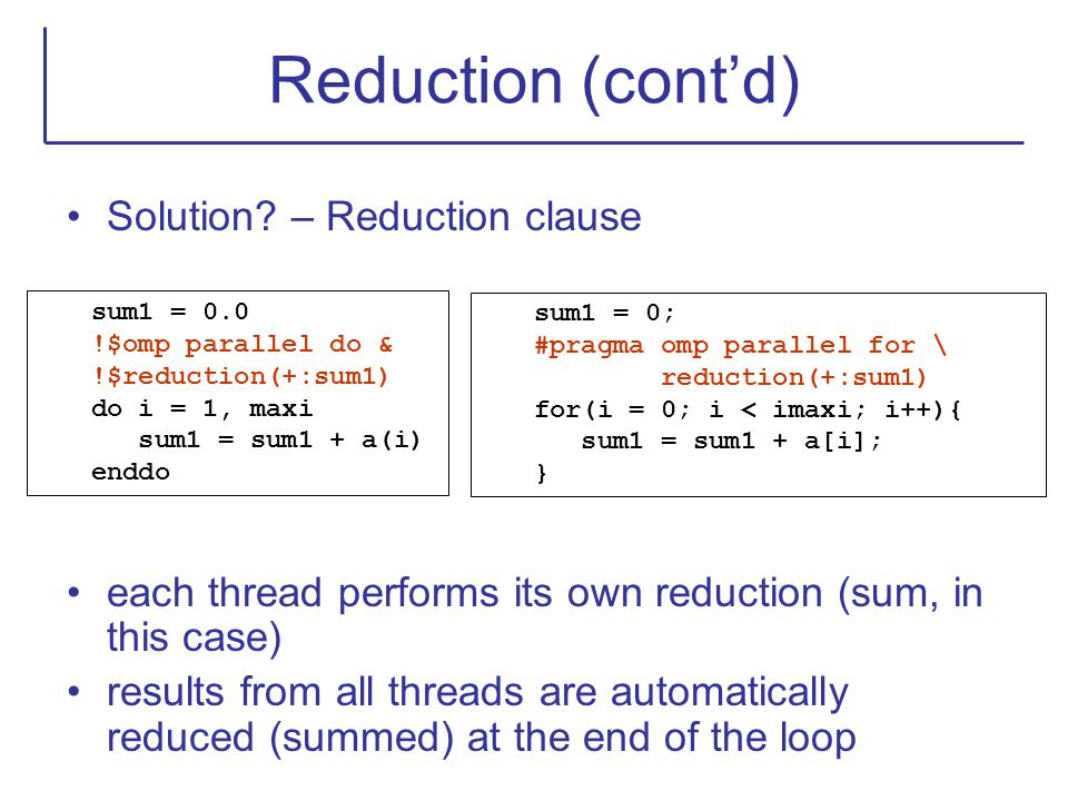 Reduction (cont'd) Solution – Reduction clause