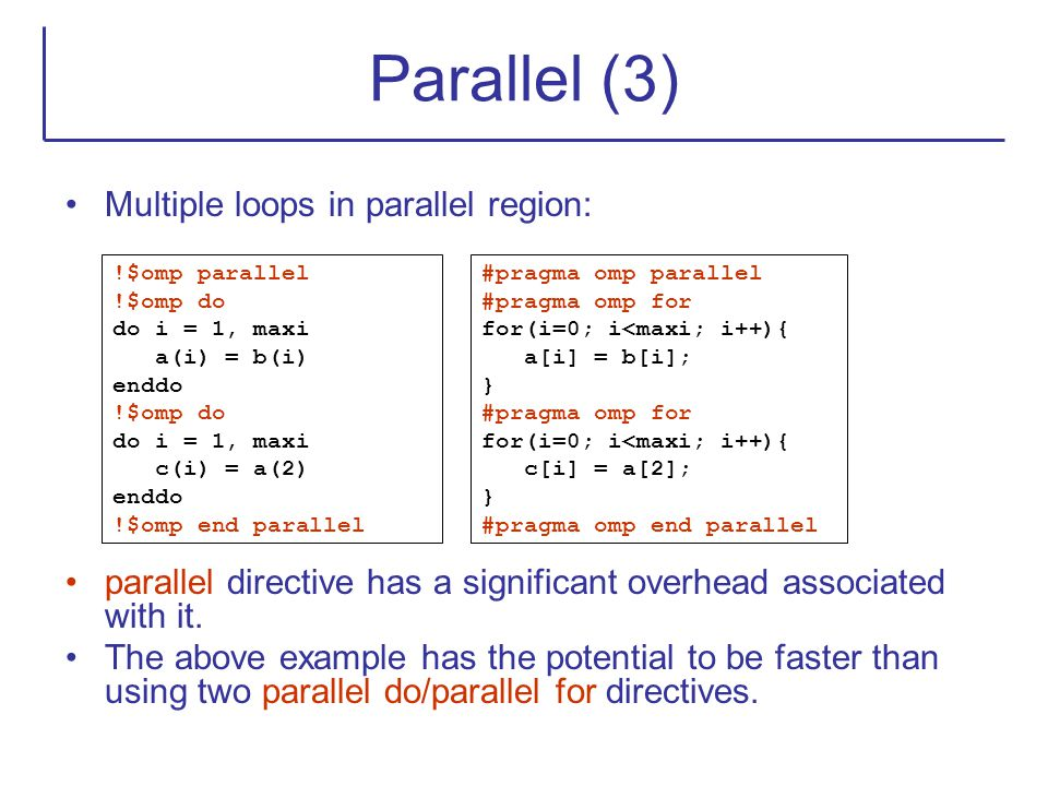 Parallel (3) Multiple loops in parallel region: