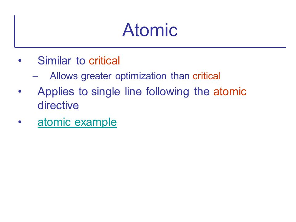 Atomic Similar to critical
