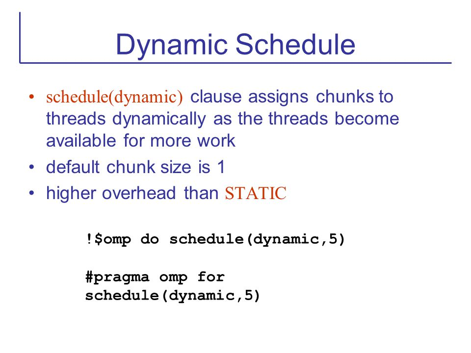 Dynamic Schedule schedule(dynamic) clause assigns chunks to threads dynamically as the threads become available for more work.