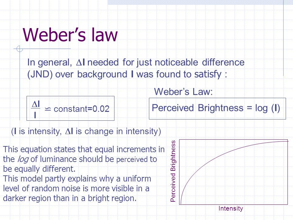 Weber's law In general, DI needed for just noticeable difference