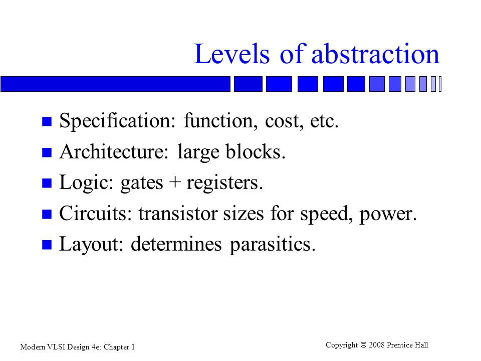 Levels of abstraction Specification: function, cost, etc.