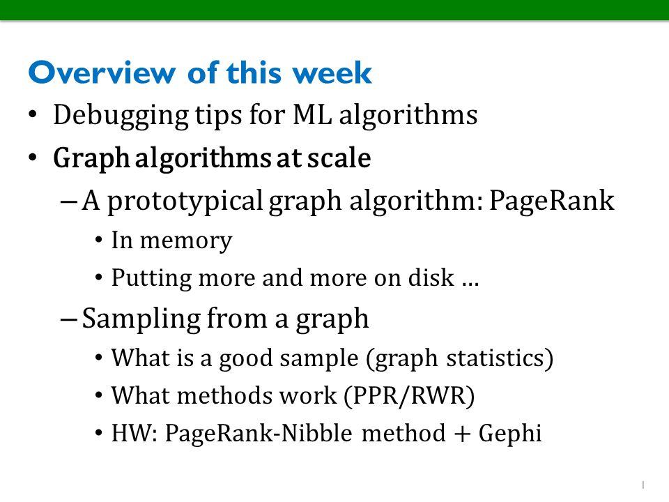 Overview of this week Debugging tips for ML algorithms