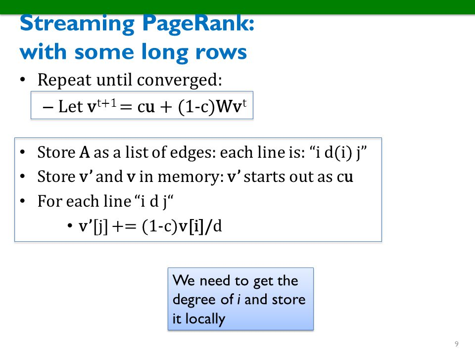 Streaming PageRank: with some long rows