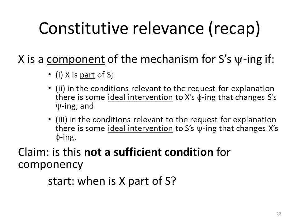 Constitutive relevance (recap)