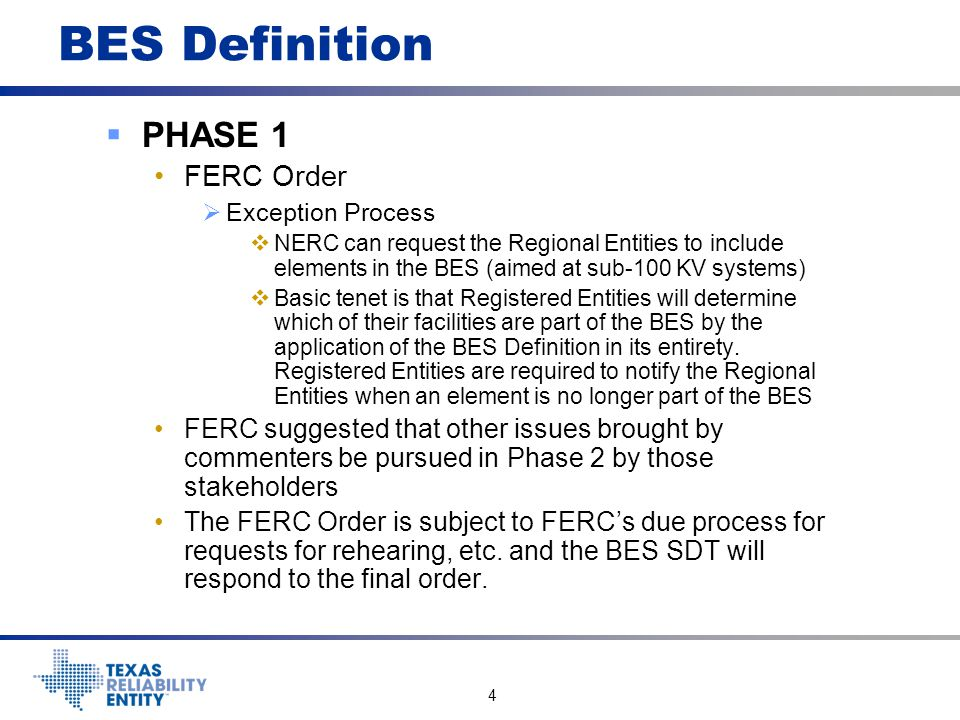 BES Definition PHASE 1 FERC Order