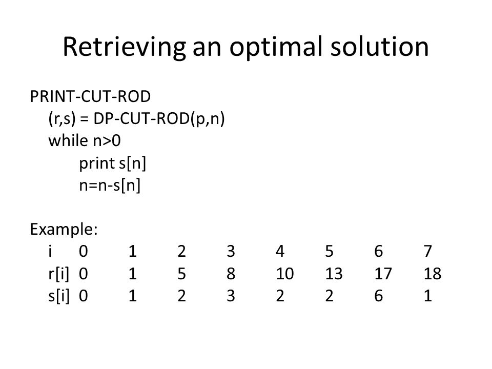 Retrieving an optimal solution