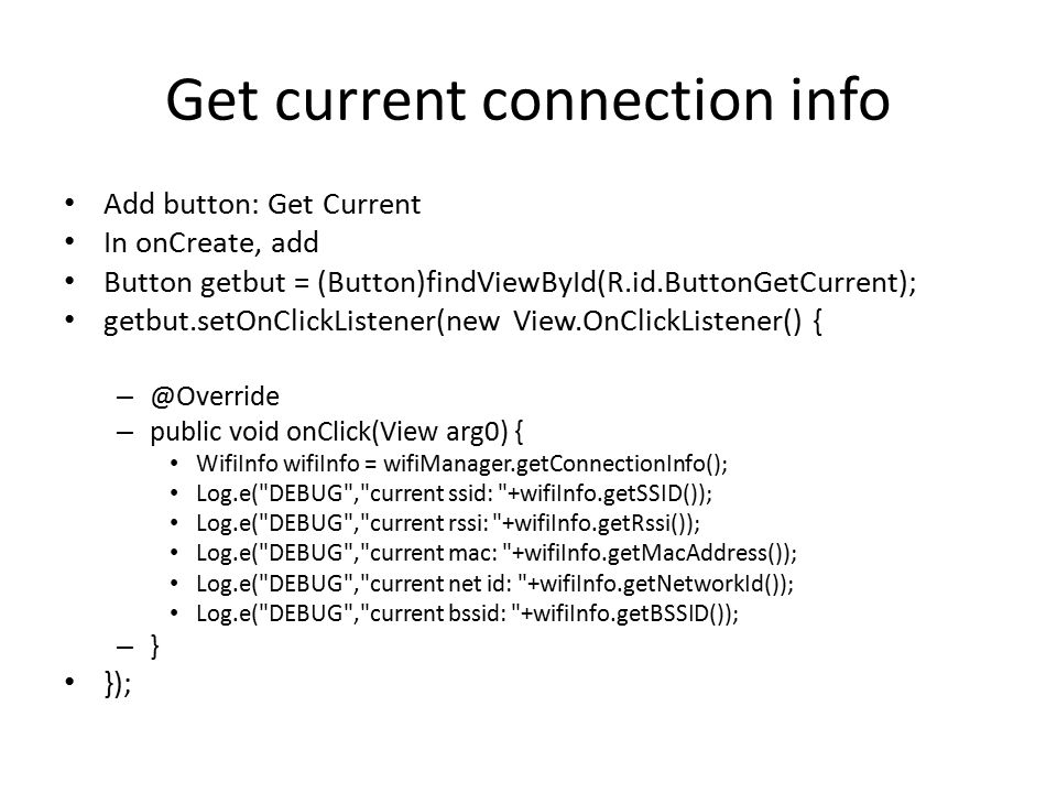 Get current connection info