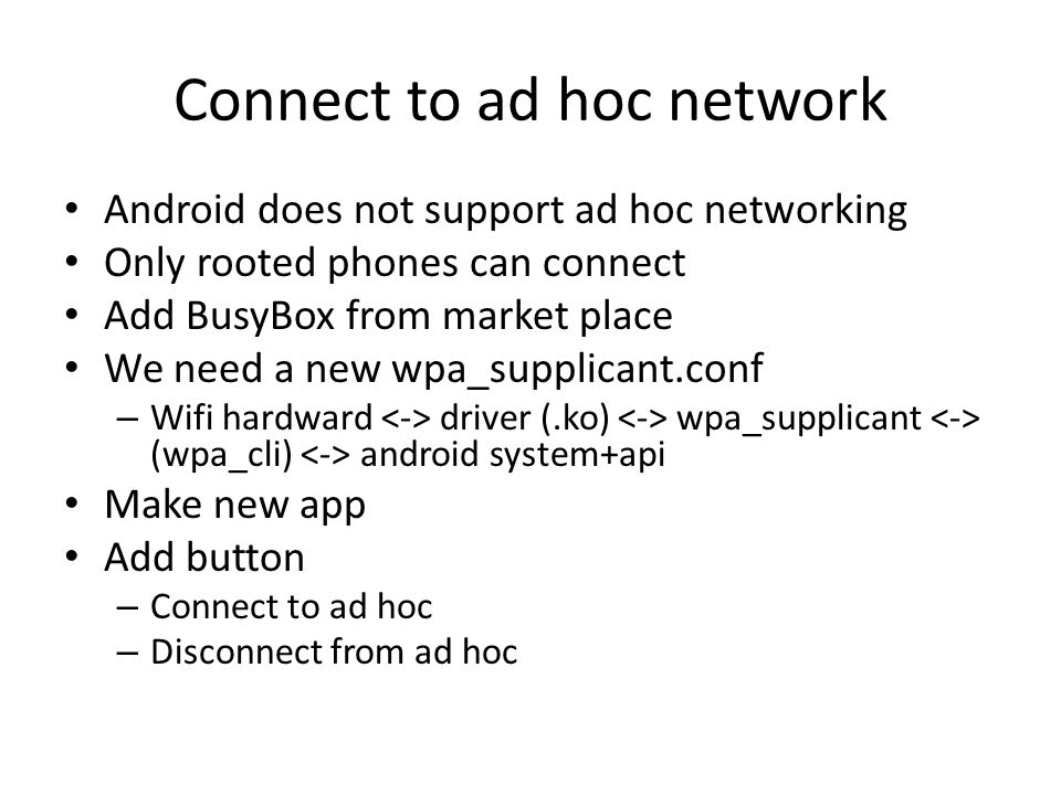 Connect to ad hoc network