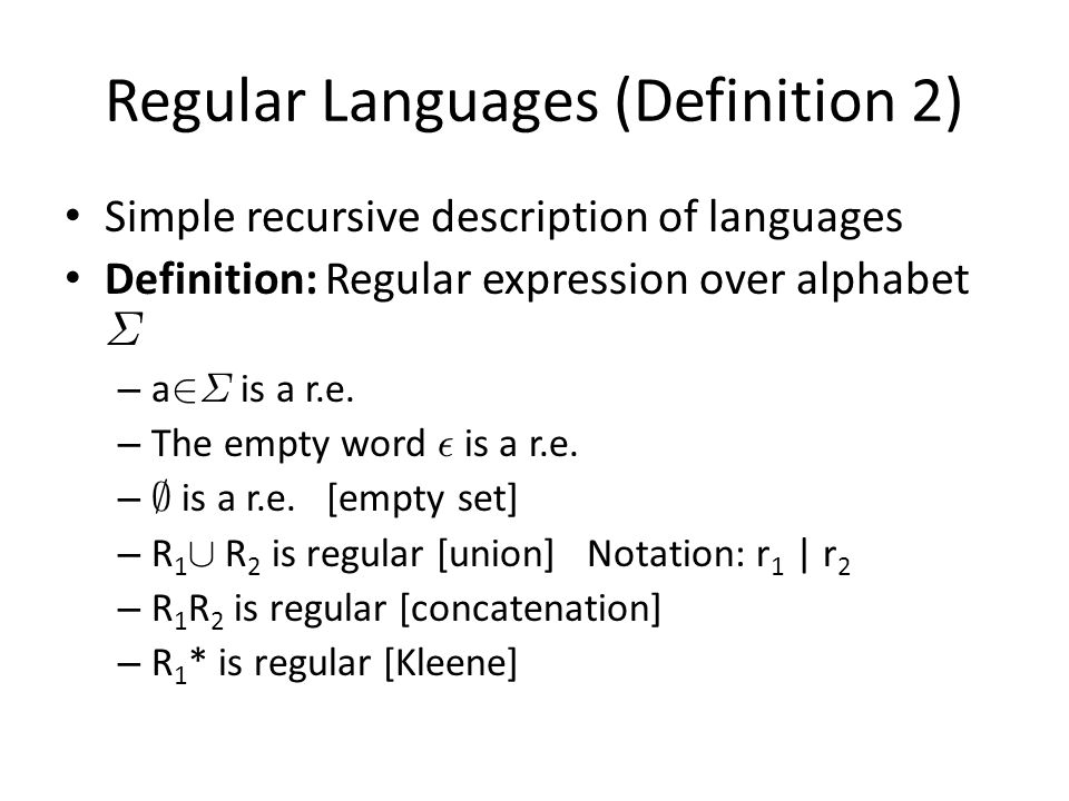 Regular Languages (Definition 2)